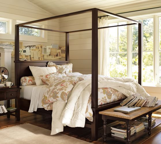 Farmhouse Canopy Bed & Dresser, Cal. King, Espresso stain