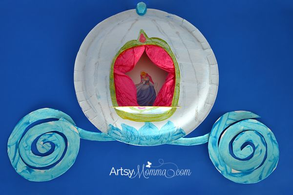 Learn how to make a pretty paper plate craft inspired by the Disney princesses - Cinderella's carriage! Fun, frugal, and easy to create!
