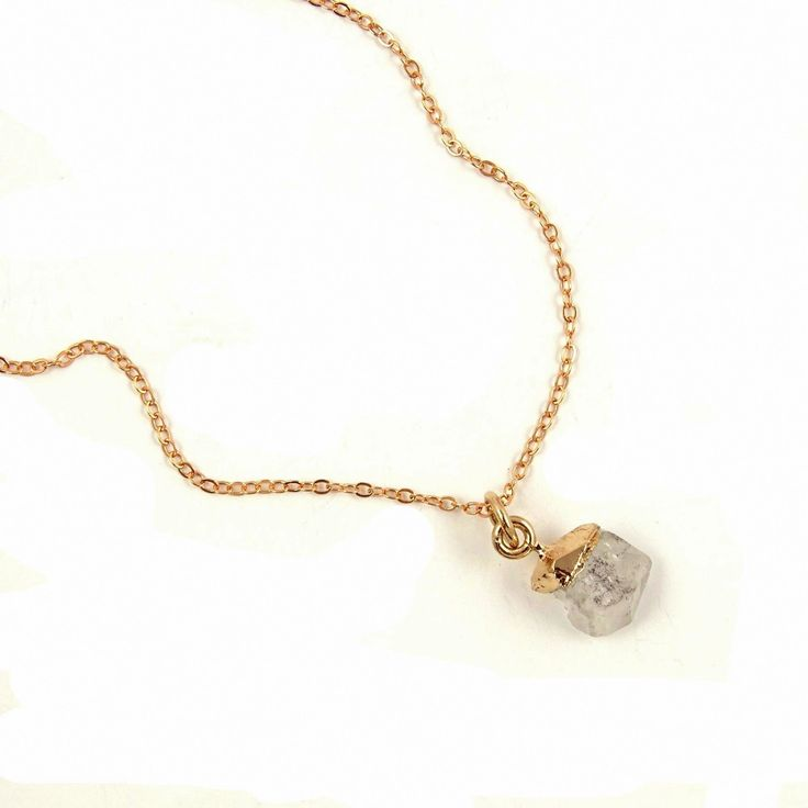 Herkimer Diamond Necklace in Rose Gold // Raw Apr…