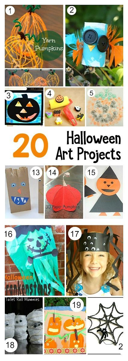 20 Halloween Art Projects for Kids: Including spider crafts, pumpkin art, jack-o-lantern projects and more!