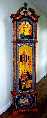 Bethany Lowe Designs Halloween Grandfather Clock # 21 - can imagine DIY-ing something like this out of plywood, foam core and a clock kit
