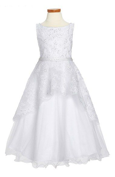 Joan Calabrese for Mon Cheri Satin, Tulle & Lace Communion Dress (Little Girls & Big Girls) available at #Nordstrom