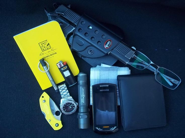 EDC By: Itamar D. • Imbel MD5 .40 SW • Fobus Holster - Purchase on Amazon • Rite in the Rain Memo Book - Purchase on Amazon • Inka Pen - Purchase on Amazon • BIC Lighter - Purchase on Amazon • Spyderco DragonFly 2 Salt - Purchase on Amazon • Technos...