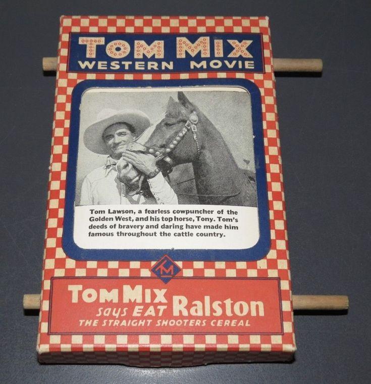 "1935 TOM MIX WESTERN MOVIE RALSTON ""MECHANICAL CARDBOARD VIEWER"" (TMX-71) 2 PIX! #RALSTON"