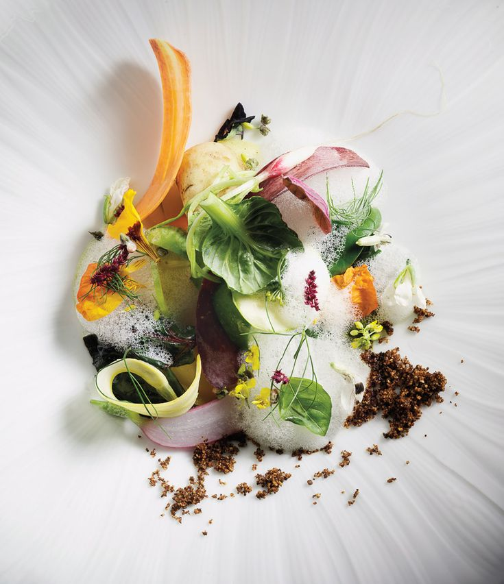 """At Manresa, David Kinch's gargoillou """"Into the Vegetable Garden,"""" a multi-vegetable medley of textures wholly dependent upon what's available from Love Apple Farms. - Mark Holthusen"""