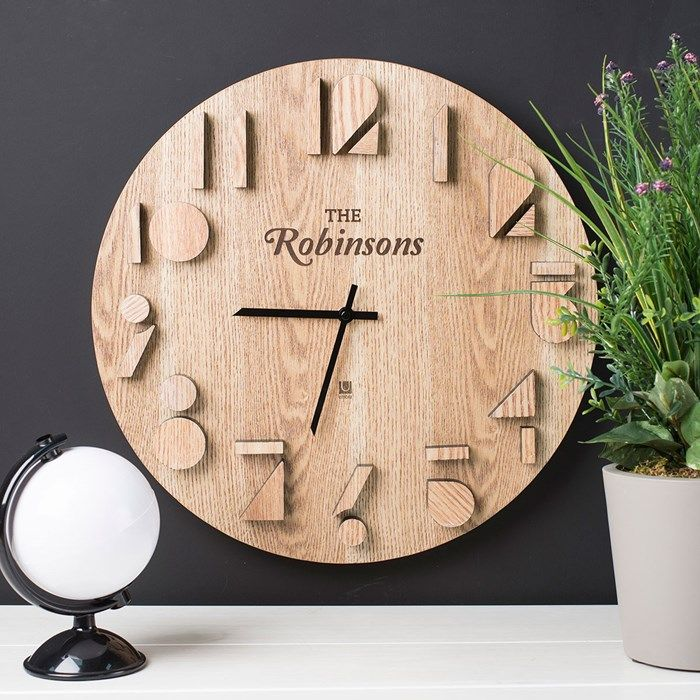 Add A Rustic Feel To Your Home With This Chic Wooden Clock. The Numbers Are  Raised And Have A Shadow Effect. Personalise The Clock With Any Name. Gallery