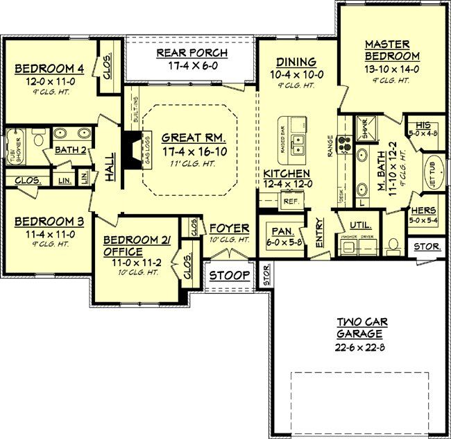4 Bedroom 2 Bath Cottage House Plan Alp 09cr Ranch House Plans New House Plans House Plans One Story