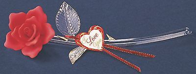 """Glass Baron ~ Red Rose Long Stem 22 kt. gold trim ~ 11"""" ~ Great Gift ~ P6 414R"""