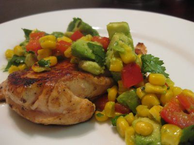 Lemon Chicken with an Avocado, Cilantro and Red Pepper Salad | Recipe