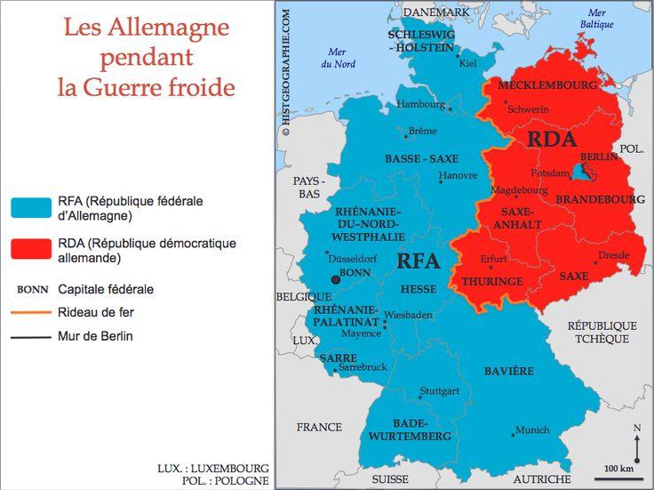 Carte de la division de l'Allemagne pendant la Guerre froide (1949-1990). Source: © HISTGEOGRAPHIE.COM