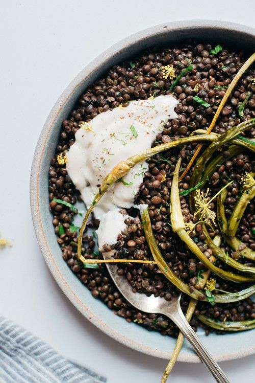 herbed black beluga lentils w/ garlic scapes + yogurt sauce from dolly and oatmeal