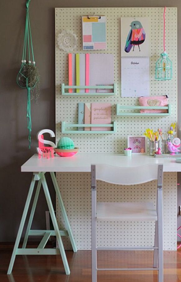 Girls room pegboard wall.