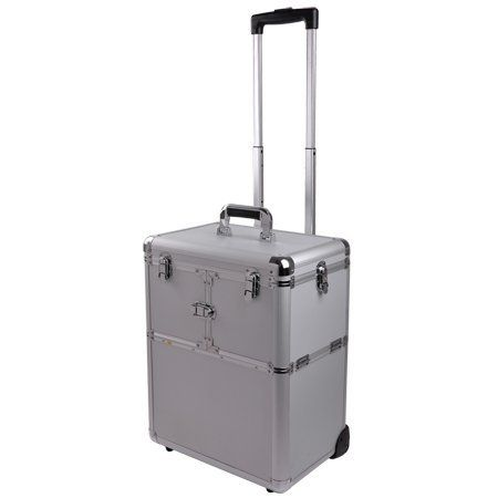 "Aluminum Pro Rolling Train Box Cosmetic Makeup Artist Case Silver by Generic. $109.95. Aluminum Corners for Extra Durability. Large base compartment. Extendable trays. 19"" Silver 2 in 1 Professional Rolling Makeup Train Wheeled Case with Drawer Bar  This high quality aluminum makeup case is very popular amongst makeup artists and hairstylists alike. It features a deep base compartment and extensible trays making it convenient use and customizable. In line skate whe..."