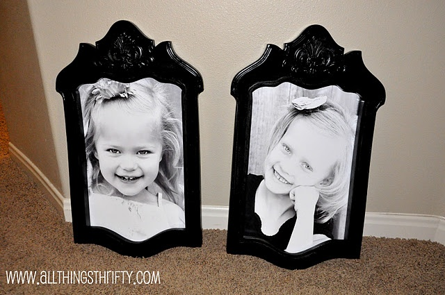 Old chair backs repurposed to frames.