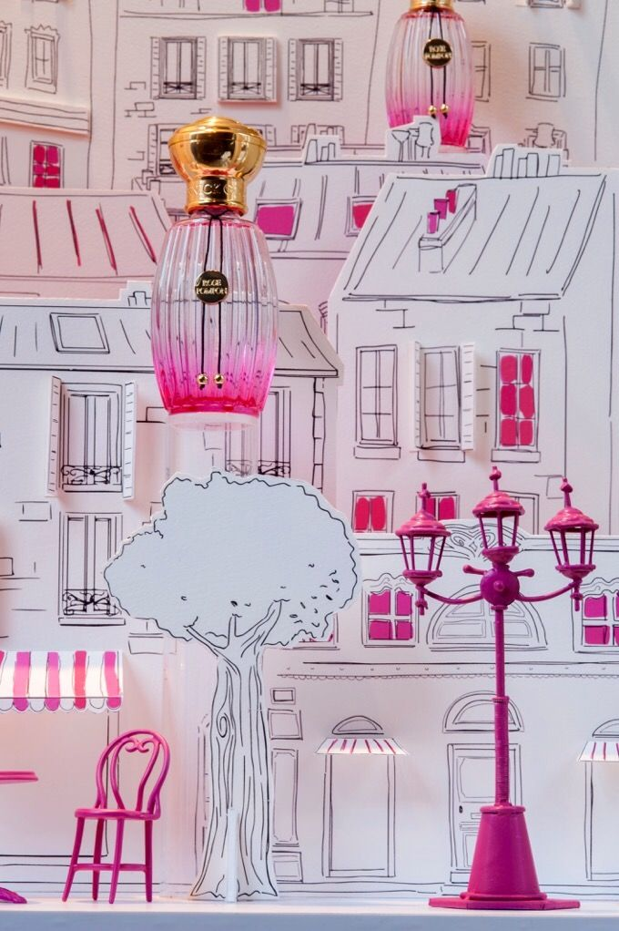 "Soline d'Aboville for Annick Goutal. Summer Window design for the launch of the ""Rose Pompon"" perfum."