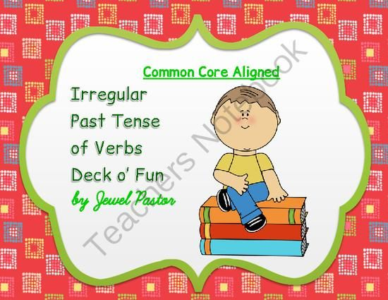 Irregular Past Tense of Verbs Deck o� Fun (COMMON CORE ALIGNED) from Jewel Pastor on TeachersNotebook.com -  (50 pages)  - Irregular Past Tense of Verbs Deck o� Fun  COMMON CORE ALIGNED  includes 50 illustrated cards that can help students learn to identify the irregular past tense of verbs as used in sentences.