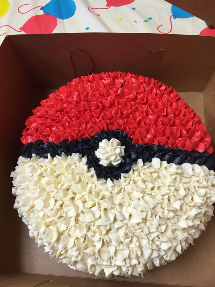 Homemade Pokemon Birthday Cake with buttercream icing