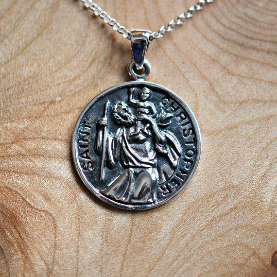 St christopher medal 25 pinterest st christopher necklace sterling silver saint christopher pendant safe travel land sea air mozeypictures Choice Image