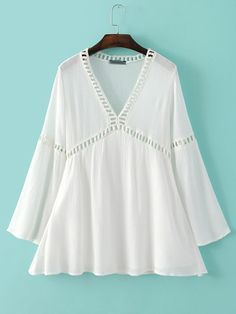 White Long Sleeve V Neck Hollow Panel Dress -SheIn(abaday)