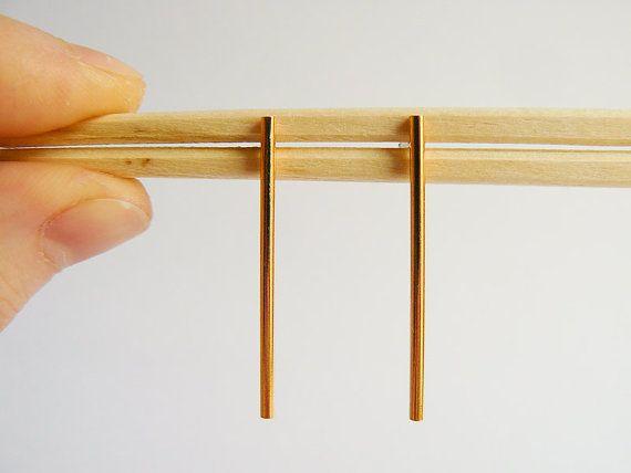 Long Gold Bar Studs  Minimal and Elegant Gold by HookAndMatter