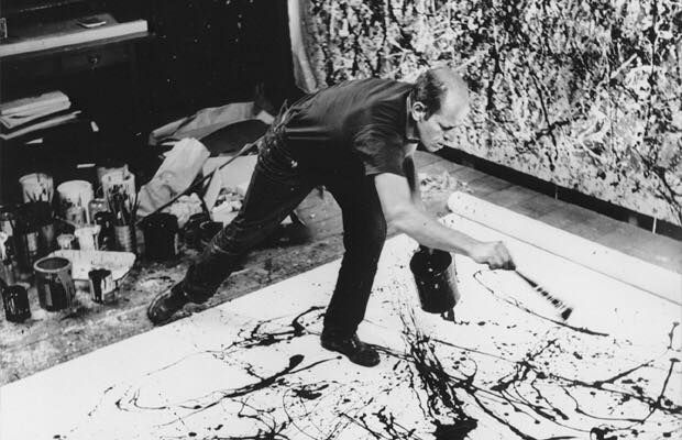 Jackson Pollock painting in his New York studio in 1950 Photograph by Hans Namuth.  In November 1945, Jackson Pollock and his wife Lee Krasner moved to what is now known as the Pollock-Krasner House and Studio in Springs in the town of East Hampton on Long Island, New York. Pollock and Krasner had visited friends nearby when they found this house for sale in 1945.   The price was $5,000 and Peggy Guggenheim loaned them the $2,000 down payment in exchange for artwork.