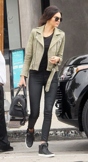 Kendall Jenner Leaving Urth Caffé in West Hollywood, CA (May 8, 2015), wearing an IRO Jova Distressed Leather Jacket, a Givenchy Lucrezia bowling bag, : RES Denim Gettin Hi Skinny Pants and Versace Medusa hi-top sneakers. #kendalljenner #style