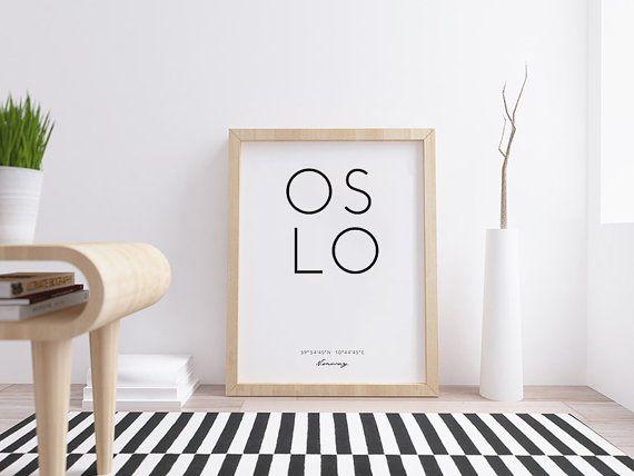Oslo Oslo coordonnées, la Norvège affiche, imprimable, Oslo affiche, coordonne signe, affiche scandinave, ville imprime