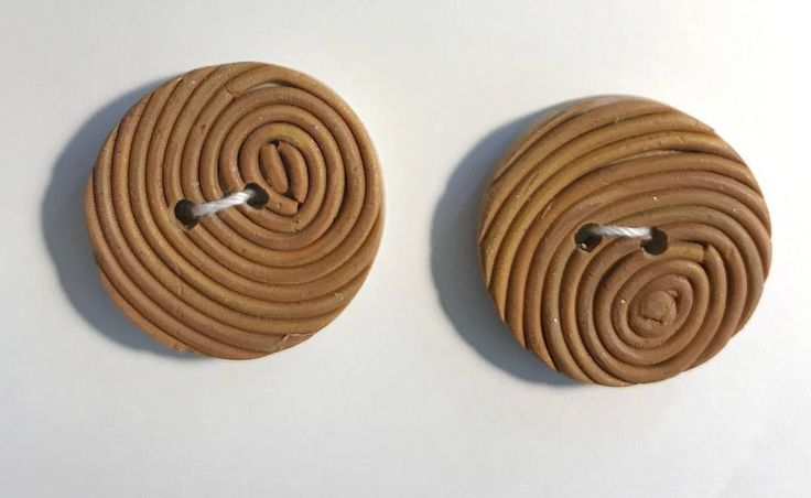 Gold Custom Button - Coil Textured Button - Handmade Polymer Button - Round Textured Button by LindaBrittDesign on Etsy