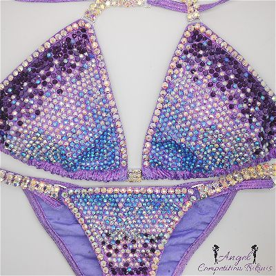 Crystal Trinity: light sapphire ab, crystal ab, and purple. Hologram l – Angel Competition Bikinis
