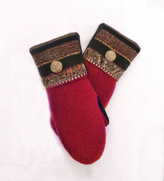 100 WOOL WOMEN'S Recycled Sweater Mittens by DesignItAgainCrafts, $32.00