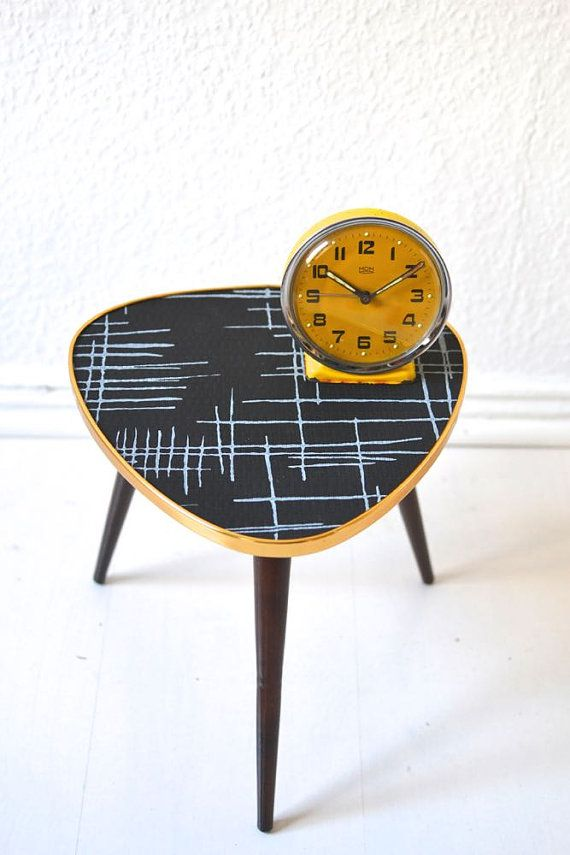 Vintage tripod black coffee table flower table by MightyVintage