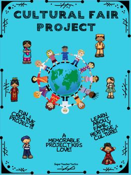 Students will LOVE learning about their family heritage in this engaging cultural project. This project includes detailed instructions, letter to parents, planning pages with a family tree, essay planning pages, and project rubric. There are 4 elements that students must complete: Part I : Culture EssayPart 2: Tri-Fold and 4 Items (items represent and inform about the student's culture)Part 3: Traditional Dress Part 4: Presentation Day This is one project your students will always remember.