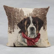 "St. Bernard with Scarf 18"" Tapestry Cushion"