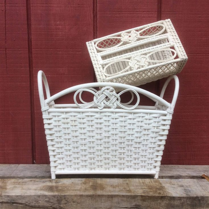 Web Photo Gallery pc Set White Wicker Bathroom Storage Decor Vintage Wicker Magazine Holder AND Wicker Facial Tissue
