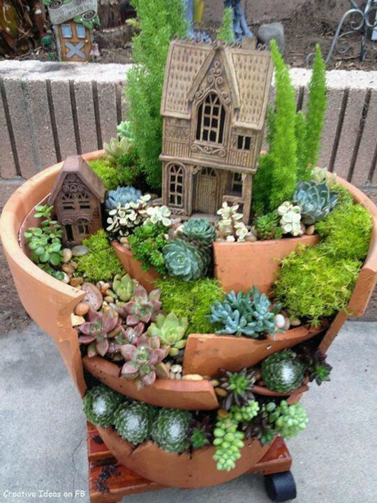 Broken Pots And Succulent Plants Make This Garden So Very Charming.   10  Amazing Miniature Fairy Garden Ideas   DIY For Life ~ AND I Can Bring It  Indoors ...