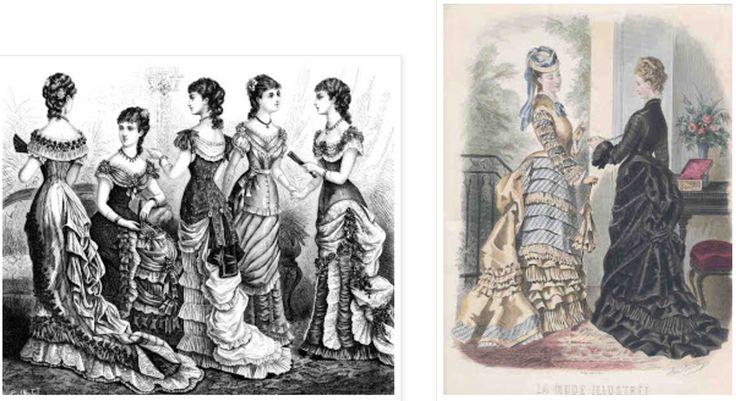 Era Vitoriana | Em 1880 as mangas eram justas e a parte de cima do corpo era enfeitada com babados cobrindo o ombro. A saia ficou com forma de trombeta, ainda com volume na parte de trás. Estava em vigor a silhueta ampulheta