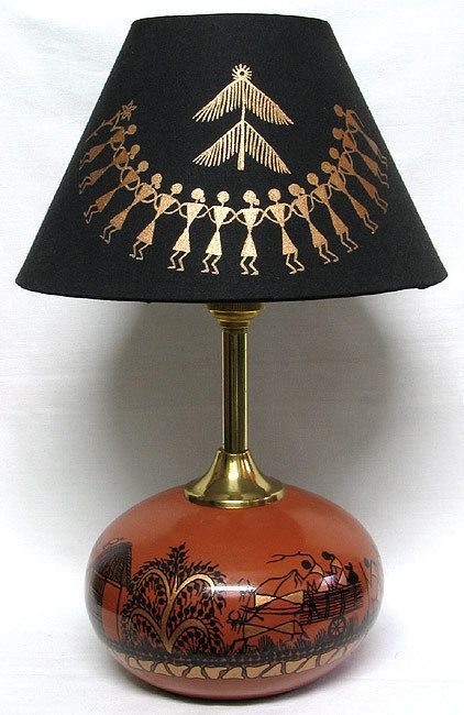 Table Lamp with Warli Painting (Terracotta))