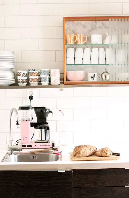 Pink espresso machine, open shelves, and the best cappuccino cups ever. | via sfgirlbybay