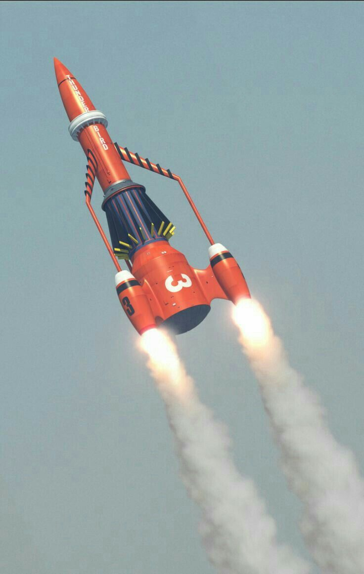 Thunderbird 3 heading for space.
