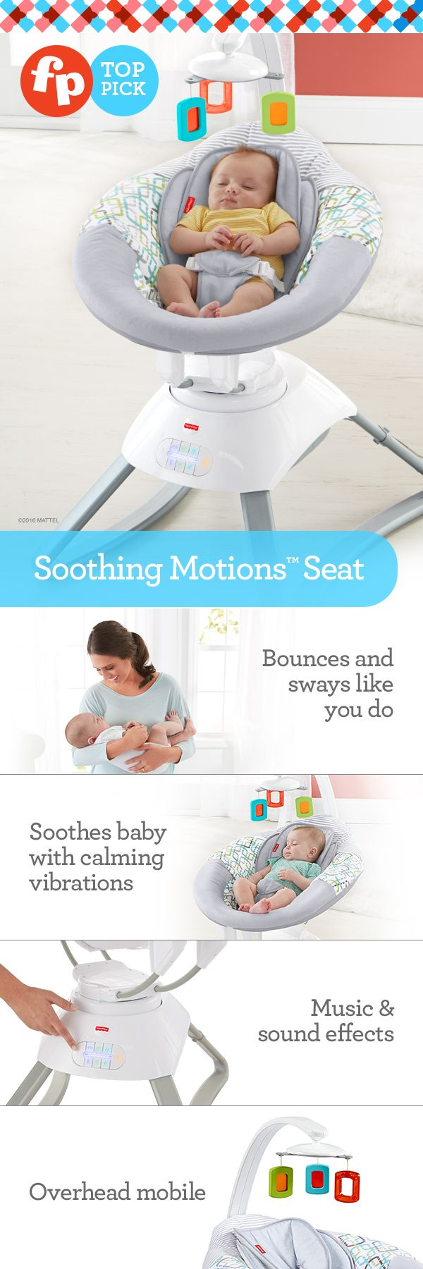Bounces & sways just like you do! Sweet serenity is closer than you think – with a soothing seat inspired by the natural motion of mom or dad. Customize the motion to whatever baby likes best. Bounce, sway, or bounce and sway together, in the deep, cozy baby seat. Calming vibrations, 10 songs and nature sounds add to the serene scene.