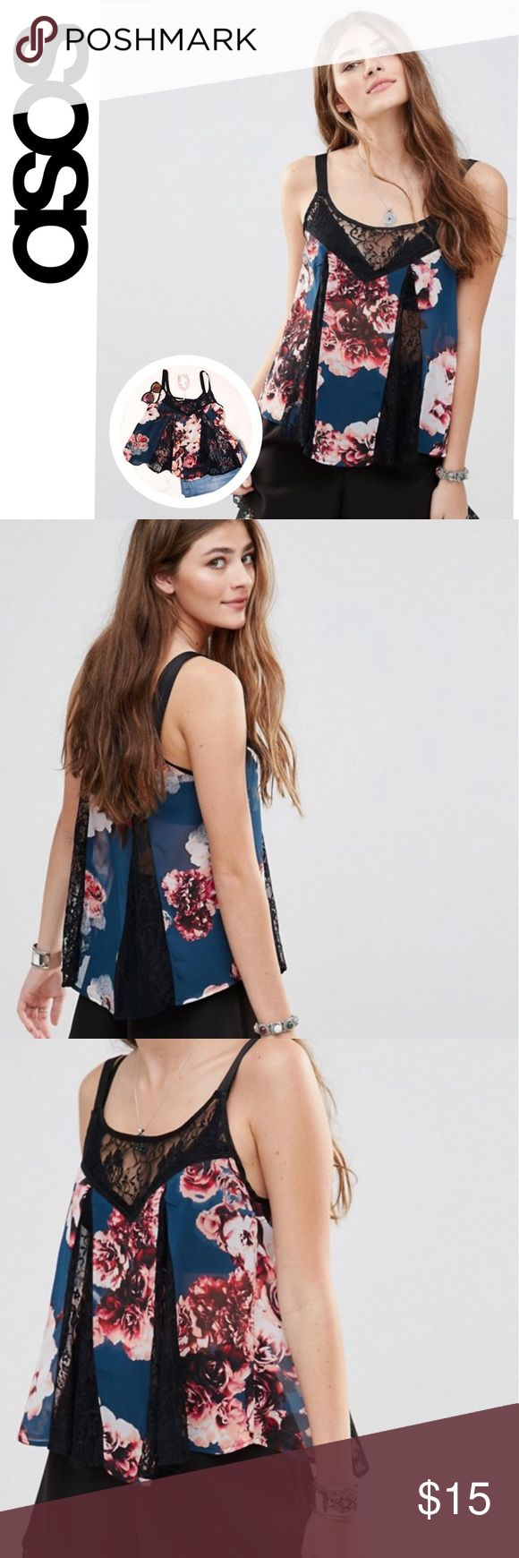 Band of Gypsies (UO) Floral Cami w/ Lace Inserts ▪️Band of Gypsies (Urban Outfitters & Asos brand) sheer floral cami with Lace inserts ▪️size: S ▪️condition: new with tags ▪️Perfect for Coachella and any other spring or summer festivals. Super light weight and flowy.  ▪️Currently being sold on Asos online for $31! 🌻Other tags: boho, hippie🌻 Urban Outfitters Tops Camisoles