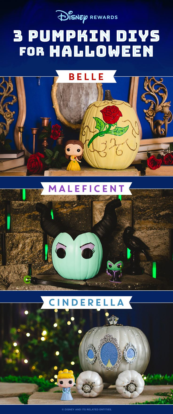 Bring a little Disney to your doorstep this Halloween with our step-by-step guide to pumpkin dress-up. Your little helpers will love these pumpkin painting designs inspired by Belle, Cinderella, and Maleficent. No carving required!