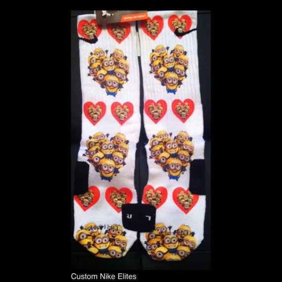 Despicable Me Valentine Custom Nike Elite Socks by LuxuryElites, $35.99