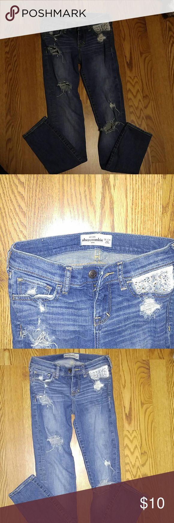 Abercrombie skinny jeans Girls Abercrombie torn skinny jeans abercrombie kids Bottoms Jeans