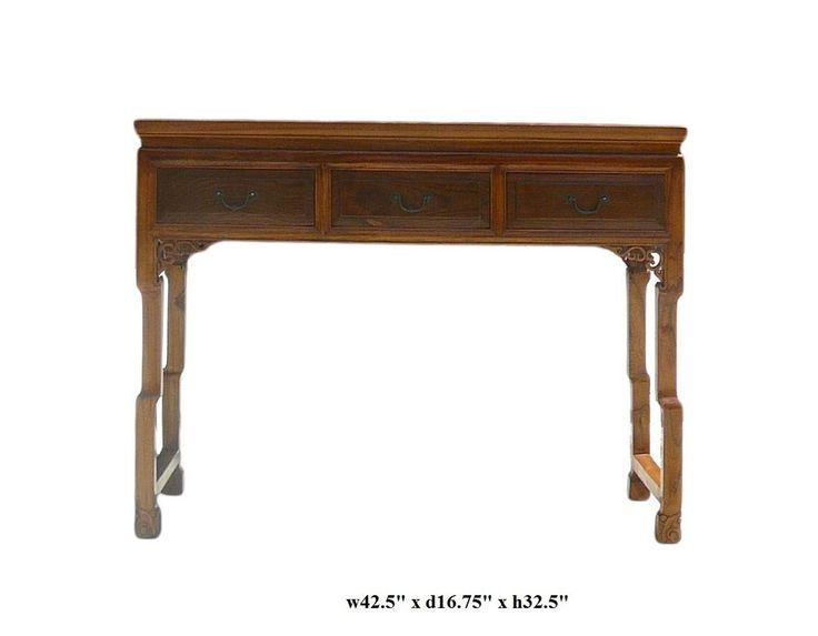 Chinese Light Brown Three Drawers Altar Table Desk cs360 #GoldenLotus #Asian  650-522-9888 goldenlotusinc@yahoo.com