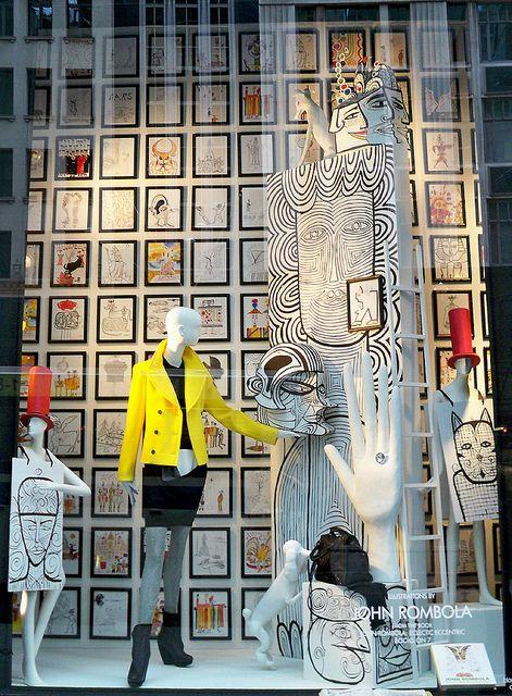 Bergdorf window - illustrations by John Rombola