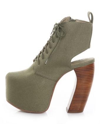 Jeffrey Campbell Lana Fab Khaki Peekaboo Platform Ankle Boots