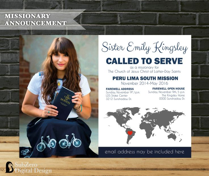 LDS Missionary Farewell or Homecoming. Congratulations! You have a new missionary OR your missionary is coming home! Announce the good news to your family and friends. by SubZero Digital Design