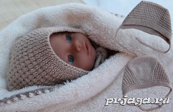 Чепчик для новорожденного спицами, видео