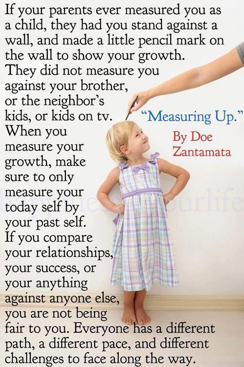 An important lesson to always remember. Measure yourself with yourself